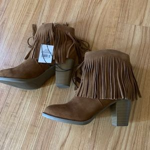 Fringe Leather Booties